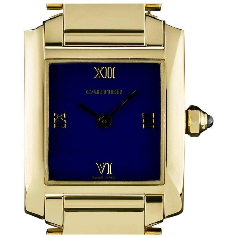 Cartier Gold Rare Blue Enamel Dial Tank Francaise Ladies Quartz Wristwatch