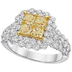 Gilin Illusion Yellow and White Diamond Ring