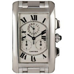 Cartier White Gold Tank Americaine Chronoflex W26033L1 Quartz Wristwatch