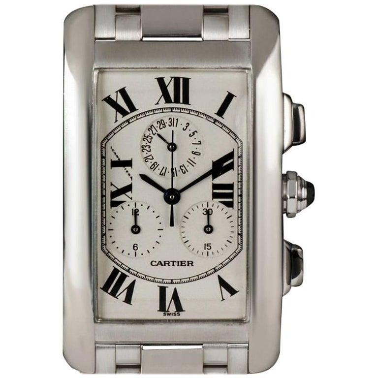 Cartier White Gold Tank Americaine Chronoflex W26033L1 Quartz Wristwatch
