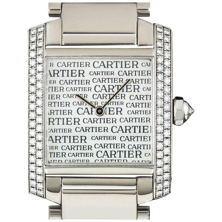 Cartier White Gold Boutique Dial Tank Francaise Quartz Wristwatch