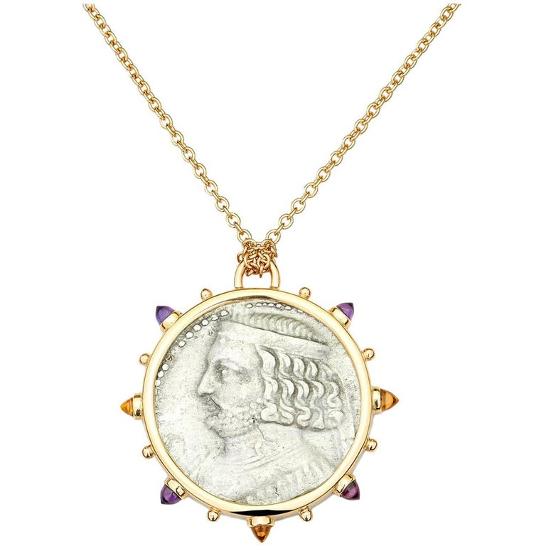 Dubini King of Parthia Ancient Silver Coin Medallion 18K Yellow Gold Necklace
