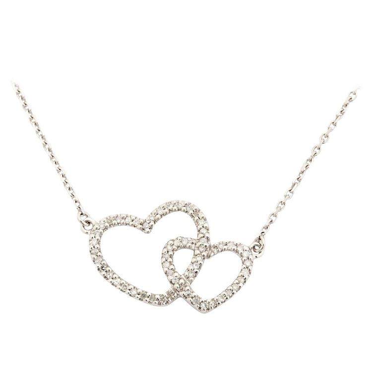 Diamond Gold Double Heart Pendant Necklace 1