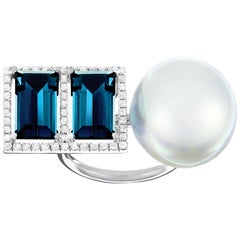 Nadine Aysoy White Gold and Double Baguette Topaz and South Sea Pearl Ring