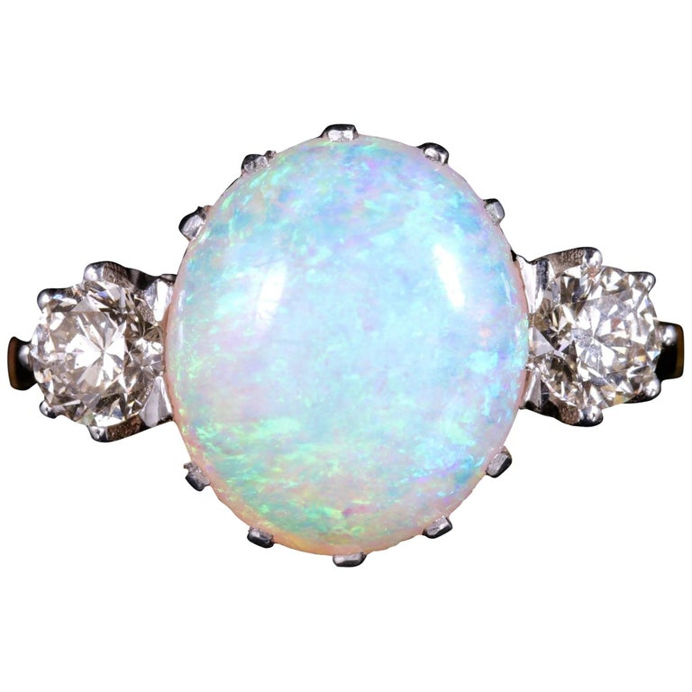 Antique Victorian Opal Diamond Ring 15 Carat Gold Natural Opal, circa 1900 For Sale
