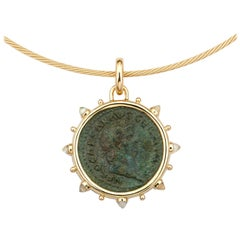 Dubini Ancient Nero Bronze Coin 18K Yellow Gold Moonstone Necklace