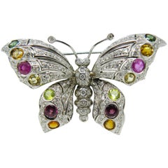 Berca 1980s Diamond Red Pink Green Tourmaline Peridot Citrine Butterfly Brooch
