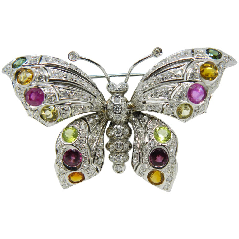 1980s White Diamond Red Pink Green Tourmaline Peridot Citrine Butterfly Brooch