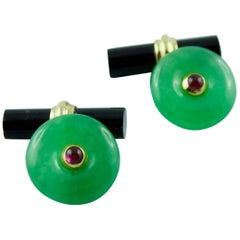 Round Gold Cufflinks in Jade with Cylindrical Onyx Toggle and Ruby