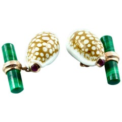 Cypraea Shell Cufflinks with Malachite and Ruby