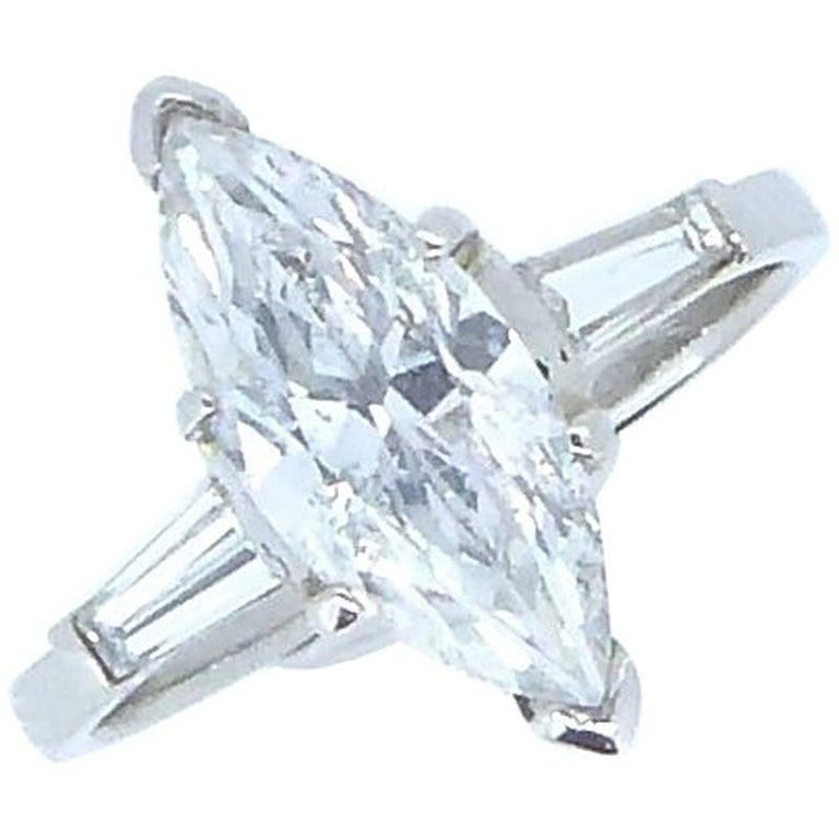 1.56 Carat Marquise Diamond and Platinum Solitaire Ring