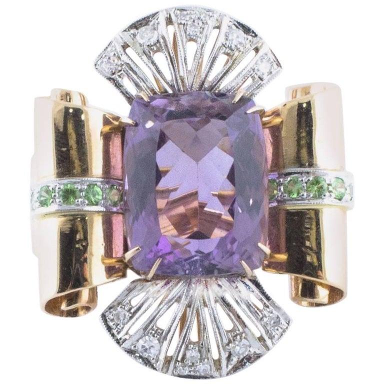 Amethyst Diamond Tsavorite Rose and White Gold Ring