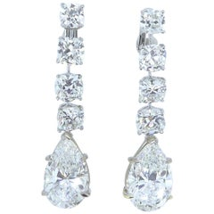 7.03 and 7.06 Carat Pear-Shape Diamond Drop Earrings