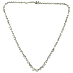Different Size Diamond Line 18 Karat White Gold Variation Necklace
