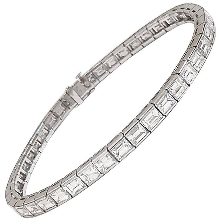 Cartier Emerald Cut Diamond Platinum  Line Bracelet