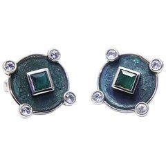 Antique Coins Emeralds Tourmalines Silver Chinese Zodiac Cufflinks