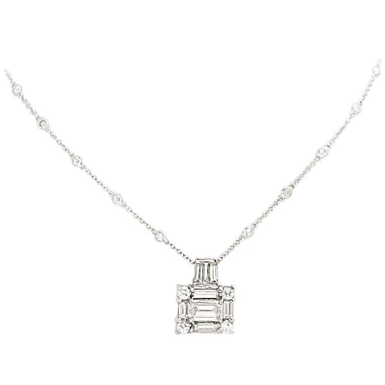 5+ Carat Emerald Baguette Cut Diamond Statement Pendant