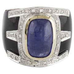 Rose Gold Band Ring in 14 Karat with Onyx Diamonds and Tanzanite