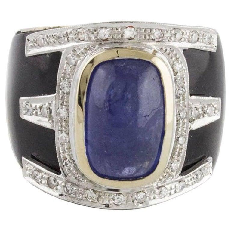 Onyx Diamonds Tanzanite Rose Gold Band Ring