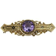 Victorian 14 Karat Gold Enamel Amethyst Bar Pin Brooch