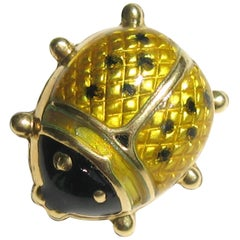 Gold Adorable Black and Yellow Enamel Lady Bug Pin Brooch