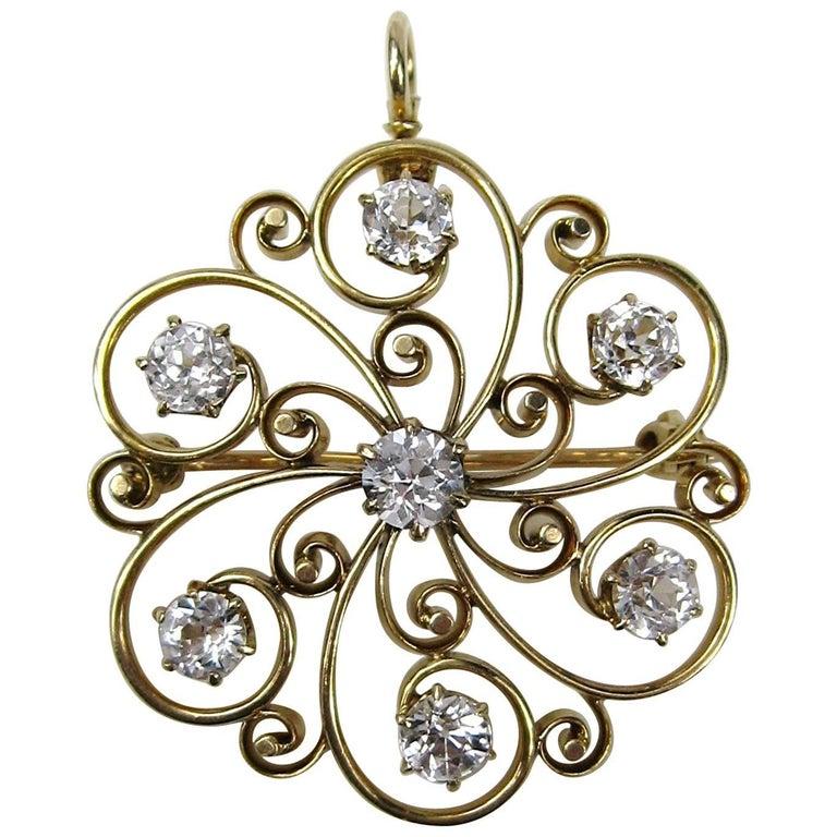 14k White Sapphire Pendant /  Brooch