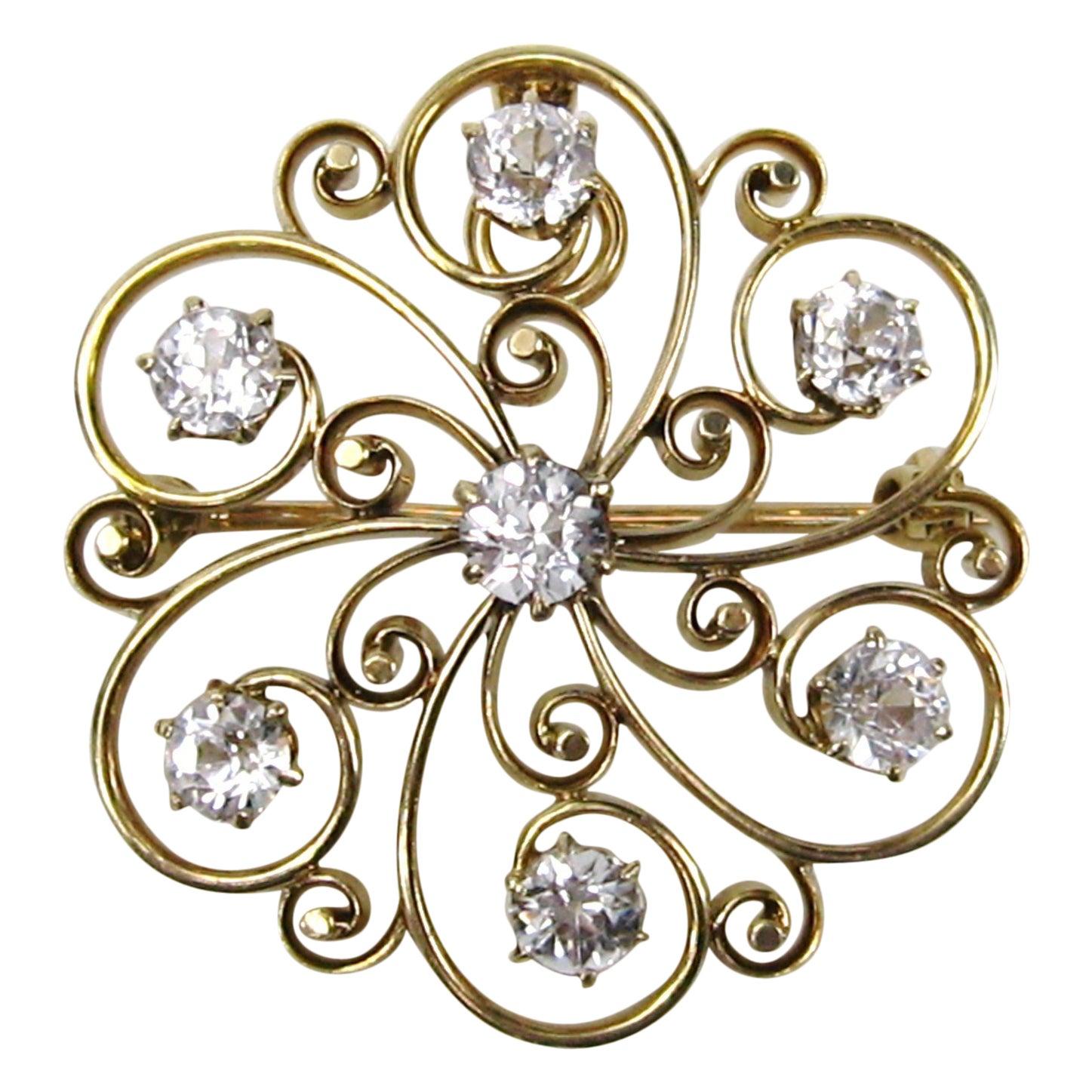 14 Karat White Gold Sapphire Pendant or Brooch Antique