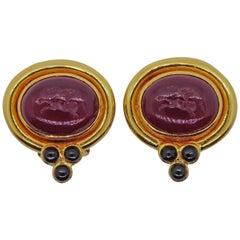 Elizabeth Locke Venetian Glass Intaglio Onyx Gold Earrings