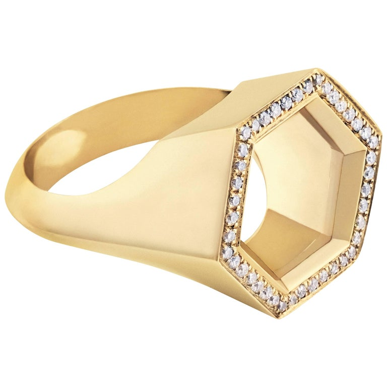 "18K Yellow Gold ""Hex Seal"" Ring with White Diamonds"