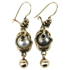 1860s Mabe Pearl Garnet 14K Gold Snake Drop Earrings