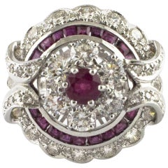 Circular Diamond Ruby White Gold Cocktail Ring