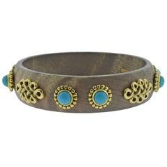 Adria de Haume Wood Turquoise Gold Bangle Bracelet