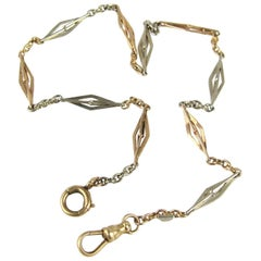 Antique Two-Color 14K Gold Watch Chain