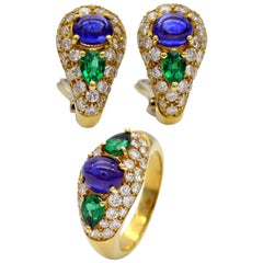 18K Gold Sapphire Emerald and Diamonds Earrings and Ring Set