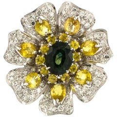 White Gold Diamonds Sapphires Fantastic Flower Ring