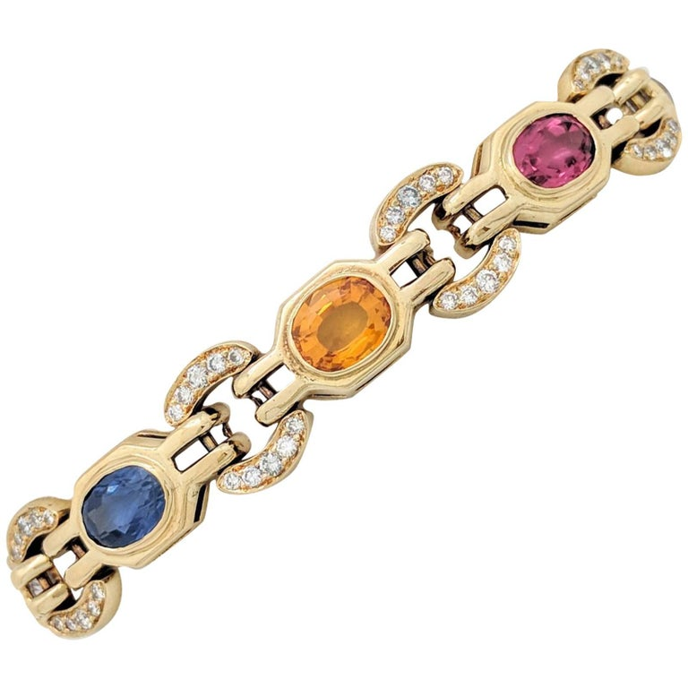 Ladies 18k Yellow Gold Multi-Colored Sapphire and Diamond Bracelet 31.2 Grams