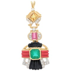Custom 18K Yellow Gold Multi-Gemstone, Emerald and Diamond Pendant 22.4 Grams