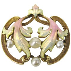 Antique 1920s Art Nouveau Pastel Enameled Pearl Gold Brooch Pendant