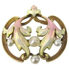 Art Nouveau Pastel Enameled Pearl Gold Brooch Pendant