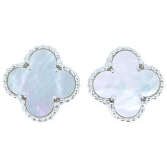 Van Cleef & Arpels Alhambra Mother-of-Pearl and 18 Carat White Gold Ear Clips