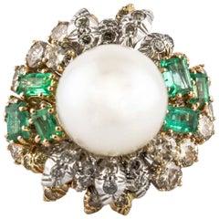 Diamonds Emeralds Pearl White Rose Gold Fantastic Ring