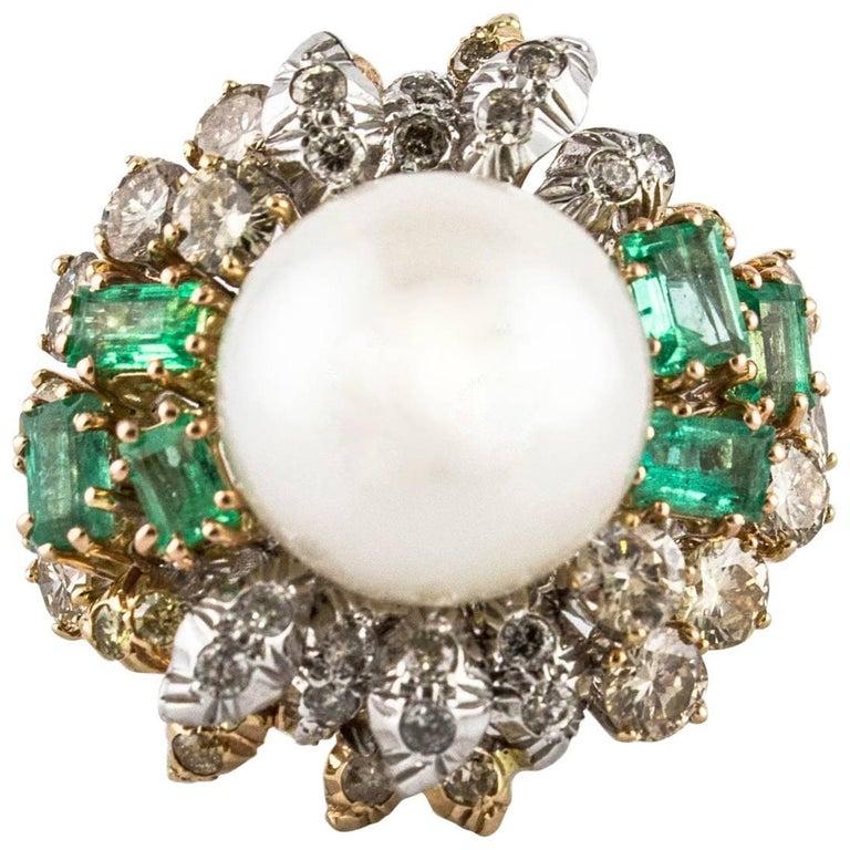 Diamonds Sapphires Pearl White Rose Gold Fantastic Ring