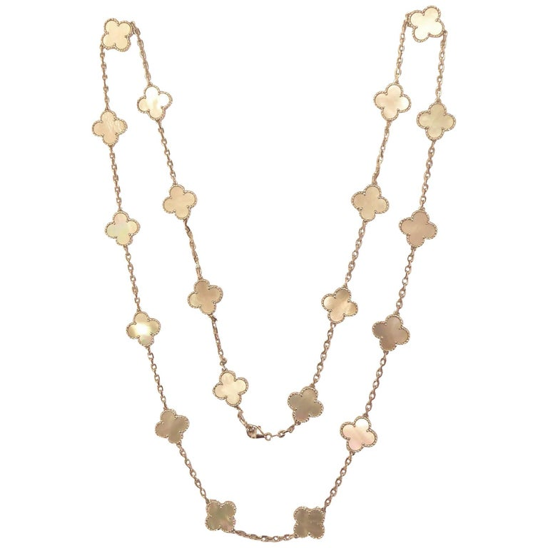 Van Cleef & Arpels 20 Motif Alhambra Mother-Of-Pearl and White Gold Necklace