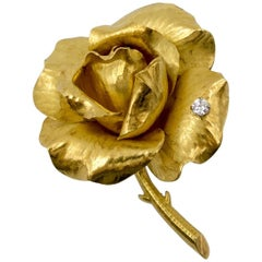 French Gold Diamond Rose Pin