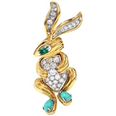 Estate Diamond Emerald Turquoise Yellow Gold Baby Rabbit Pin Brooch
