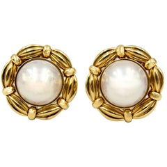 Tiffany & Co Gold Mabe Pearl Earclips