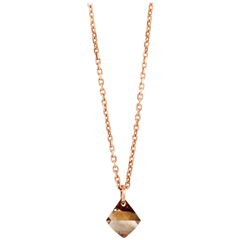 Brown Diamond Octahedron Drop Necklace in 18k Rose Gold by Allison Bryan
