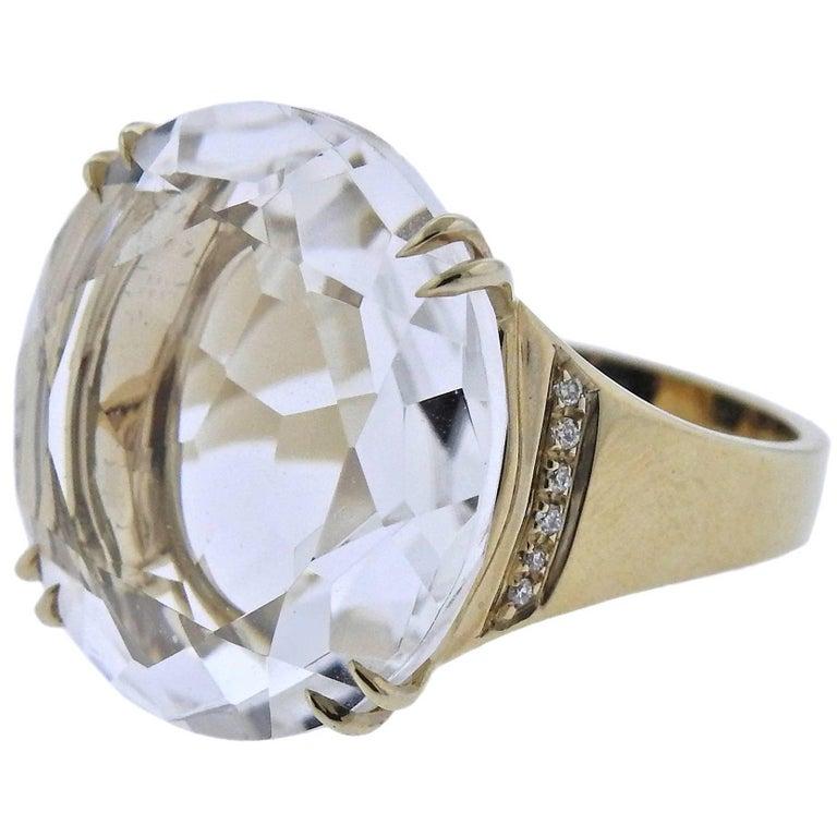 H. Stern Cobblestone Rock Crystal Diamond Gold Ring