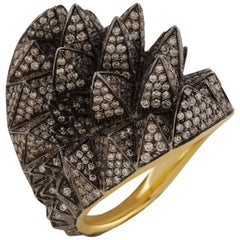 18K Yellow Gold Merkaba Ring with Black Rhodium and 890 pave White Diamonds