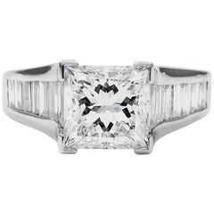 GIA Certified 2.21 Carat Princess Cut Diamond F SI1 Baguette Ring